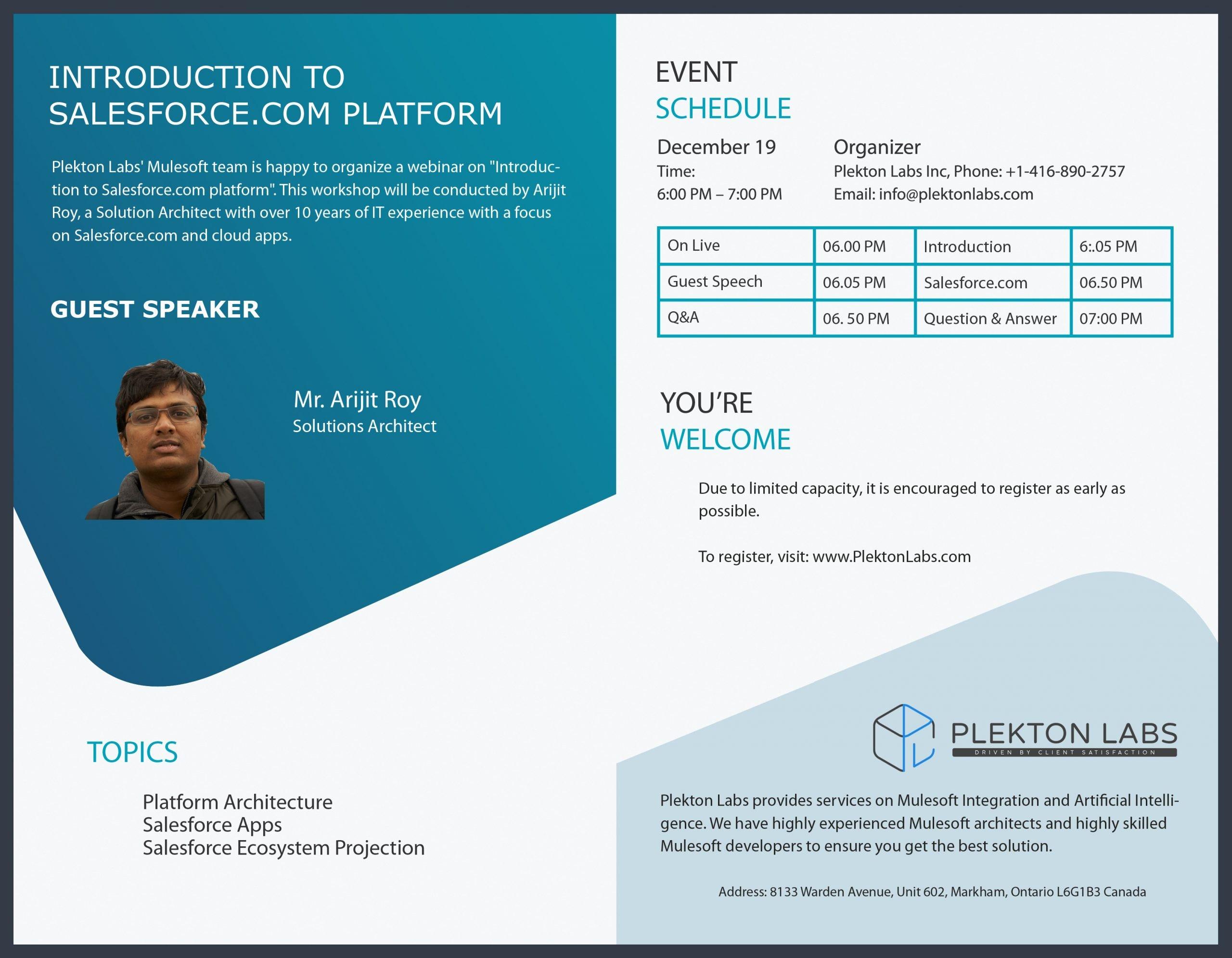 Plekton Labs Inc. is organizing the webinar – Introduction to the Salsforce.com Platform